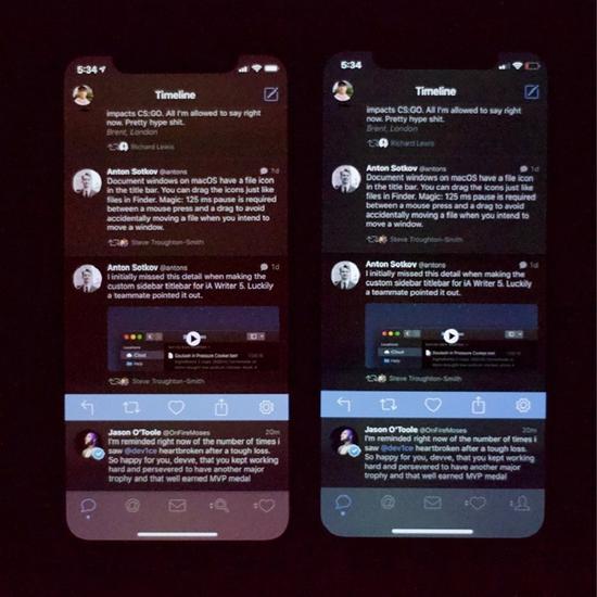"""? 照片: U/DEFYING 帖子作者称,iPhone Xs屏幕在最小亮度值下看起来""""非常糟糕"""";他附上了iPhone X上的照片作为比对。"""